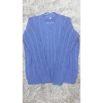 Blusa De Frio Masculino. Casaco. Suéter Azul Manga Longa.