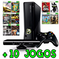 Xbox 360 Slim + Kinect + 1 Controle +10 Jogos + Original