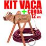Vaca Parada  Madeira + Corda Grátis Cavalete D Laçar Só Hoje
