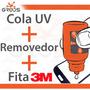 Kit Cola Uv + Removedor + Adesivo 3m Celular Vidro Touch Lcd