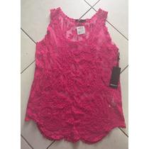 Blusa Regata Transparente Renda Pink Tamanho P Forever 21