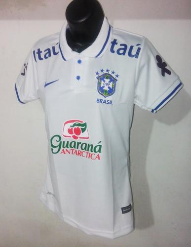 9ee2a74421163 Camisa Brasil Copa 2018 Feminina Polo Branca Supporter - R  72 en ...