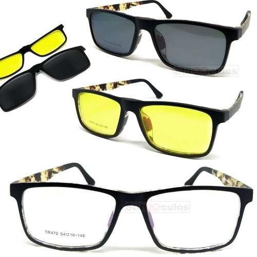 fb5eeb7bb4ed1 Armação Óculos De Grau Clip On Mult Lentes 3 Em 1 Polarizado