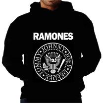 Blusa Moletom Ramones Capuz Bolso Banda Rock Punk Met Camisa