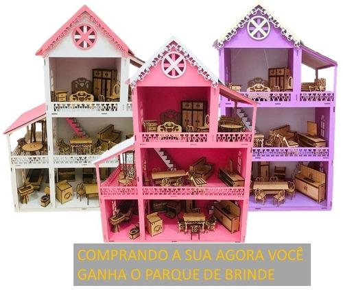 9532e652a Casinha De Boneca Rosa Polly Mdf Pintada Com Kit 37 Móveis à venda ...