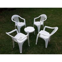 Conjunto De 4 Cadeiras De Plástico E Mesa Petisco