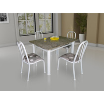Conjunto De Mesa Movita Tampo Em Granito E 4 Cadeiras Branco