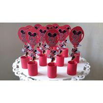 5 Enfeites De Mesa Minnie Vermelha