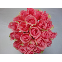 Buque Bouquet Noiva Flores Rosas Artificiais Cor Rosa