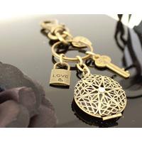 Relicário Chaveiro Mandala Ouro Velho Para 2 Fotos Unissex