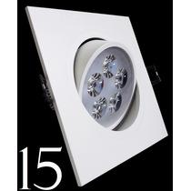 Kit 15 Spot Led Branco Luz Fria 5w Quadrada Teto Sanca Gesso