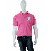 Camisa Polostyle Masculina Básica Rosa Brasão