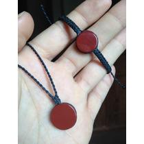 Kit Hippie Conjunto Pulseira + Colar C/ Pedra Jaspe Vermelha