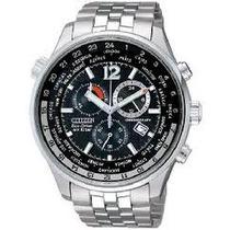 Relógio Citizen Eco Drive Cronógrafo At0360-50e Fundo Preto