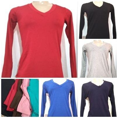 268c29fa68e77 Kit 5 Camiseta Plus Size Blusinha Manga Longa Feminina Lisa - R  148 ...
