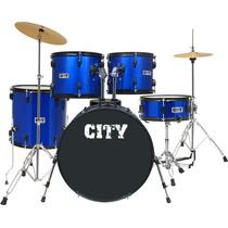 Bateria Acústica Planet City Completa 22 C1019mb Azul