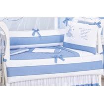 Kit Berço Bebê Enxoval Santo Anjo Azul Bordado 9pçs 180fios.