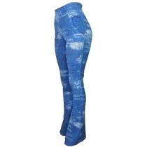 Calça Flare Fake Jeans Legging Boca Sino Cintura Alta Linda