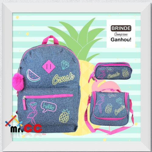 4854db45a Kit Mochila+lancheira+estojo Escolar Flamingo Jeans + Pompom à venda ...