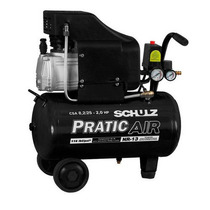 Compressor De Ar 8,2pés 2hp 25 Litros Pratic Air Schulz 110v