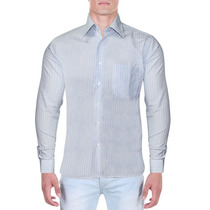 Camisa Masculina Social Verti Listrada Azul Estilo