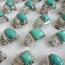 Anéis De Prata Com Pedra Azul