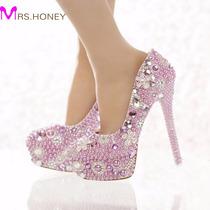 Sapato Noiva Personalizado Pérolas Roxo E Branco