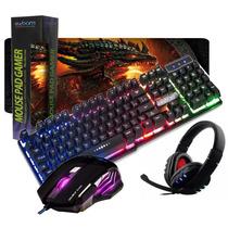 Kit Gamer Teclado Semi Mecânico Mouse 6d Headset Mpad Grande