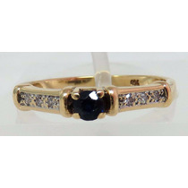 Pocao2005- Anel De Ouro 18k750 Diamantes E Safira Azul