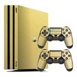 Skin Ps4 Pro Playstation 4 Original Adesivo Metálico Dourado