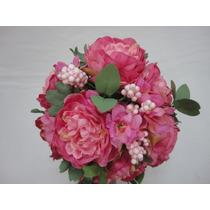 Buque Peonia Noiva Rosa Bouquet Casamento Artificial