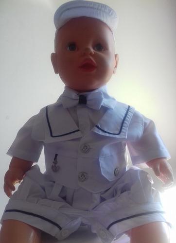 d9d29731a0743 Roupa Social Menino Bebê Branco Marinheiro Gravata E Chapéu à venda ...