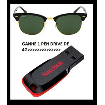Óculos Ray Ban Clubmaster Ganhe 1 Pen Drive De Brinde