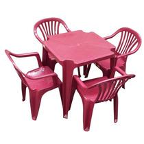 Conjunto Jogo 1 Mesa 4 Cadeiras Poltrona Plástico Cor Vinho