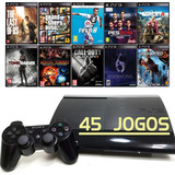 Playstation 3 Super Slim Ps3 + 45 Jogos + Gta5 + Fifa 19
