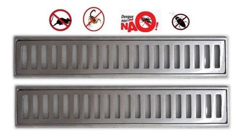 Ralo Grelha Linear 10x100 Anti Inseto C/ Aro De Fixação
