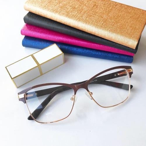 b8e373afd4993 Armação Óculos Gatinho Quadrado Acetato Metal Feminino Caixa