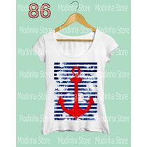 Tshirt Blusa Feminina Tendencia Âncora Moda Look Fashion