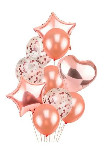 Kit Buque Baloes Rose 9 Latex E Metalizado