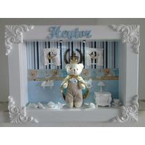 Enfeite Quadro Porta Maternidade Urso Rei,principe Com Led!!