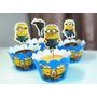 Kit 24 Peças Cupcake Minions Toppers Festa Aniversário Decor