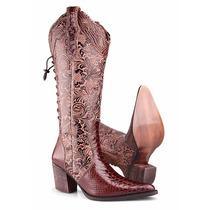 Bota Texana Country Feminina Anaconda Rodeo Ajuste Elástico