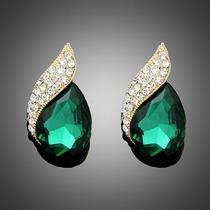 Brinco Feminino Gota Verde Esmeralda Com Cristais Brilhantes