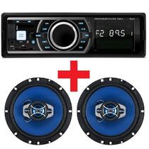 Auto Radio Mp3 Usb Sd Card Aux + Par Alto Falante 6 Pol 130w