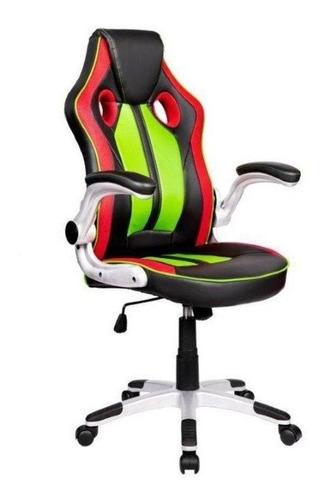 Cadeira De Escritório Pelegrin 3009 Jogador Vermelha/preta/verde