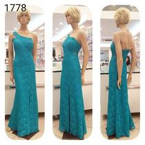 Vestido De Festa Azul Tiffany (5 Cores) Renda Brilho 1778