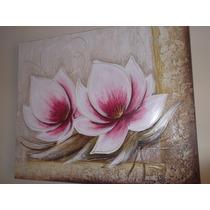 Promoção Quadro Decorativo Tela Flor Pintado A Mão Lótus