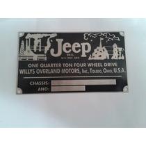 Plaqueta Numero E Ano Chassi Jeep 51 Willys Ford