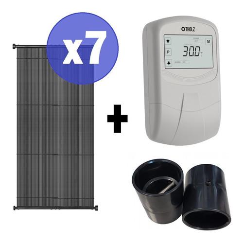 7x Coletor Placa Aquecimento Solar Piscinas Megasol + Comando Tholz Mmz + Porta Sensor + Fechamento