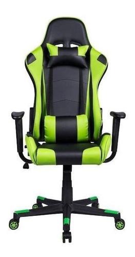 Cadeira De Escritório Pelegrin 3012 Jogador Ergonômica Preta E Verde